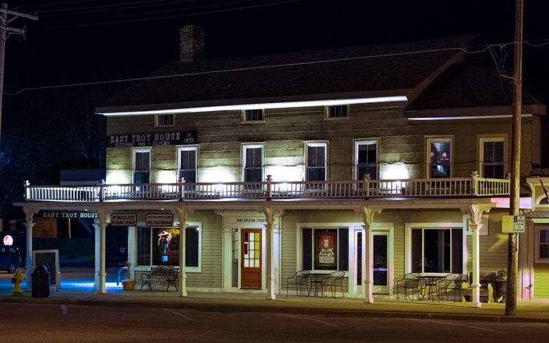 East Troy House at night