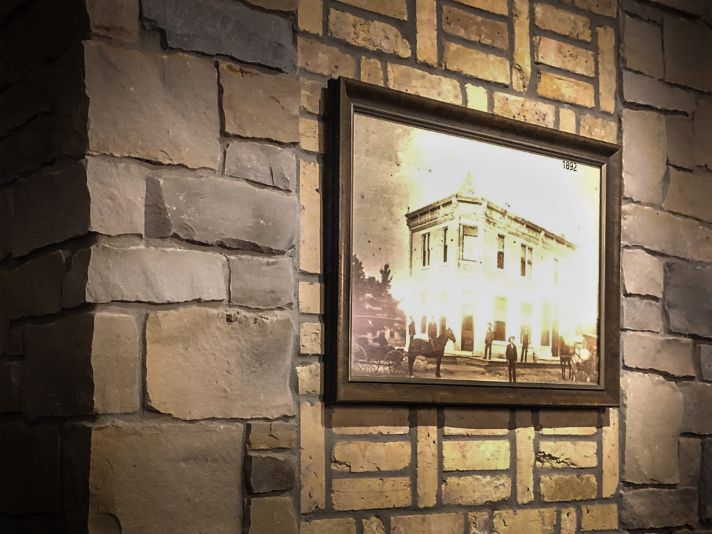 Picture of original East Troy Brewery bank building hanging on wall