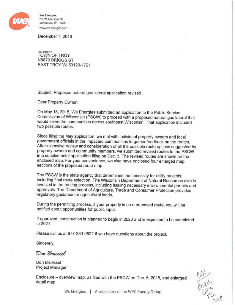 We Energies Letter for revised natural gas pipeline