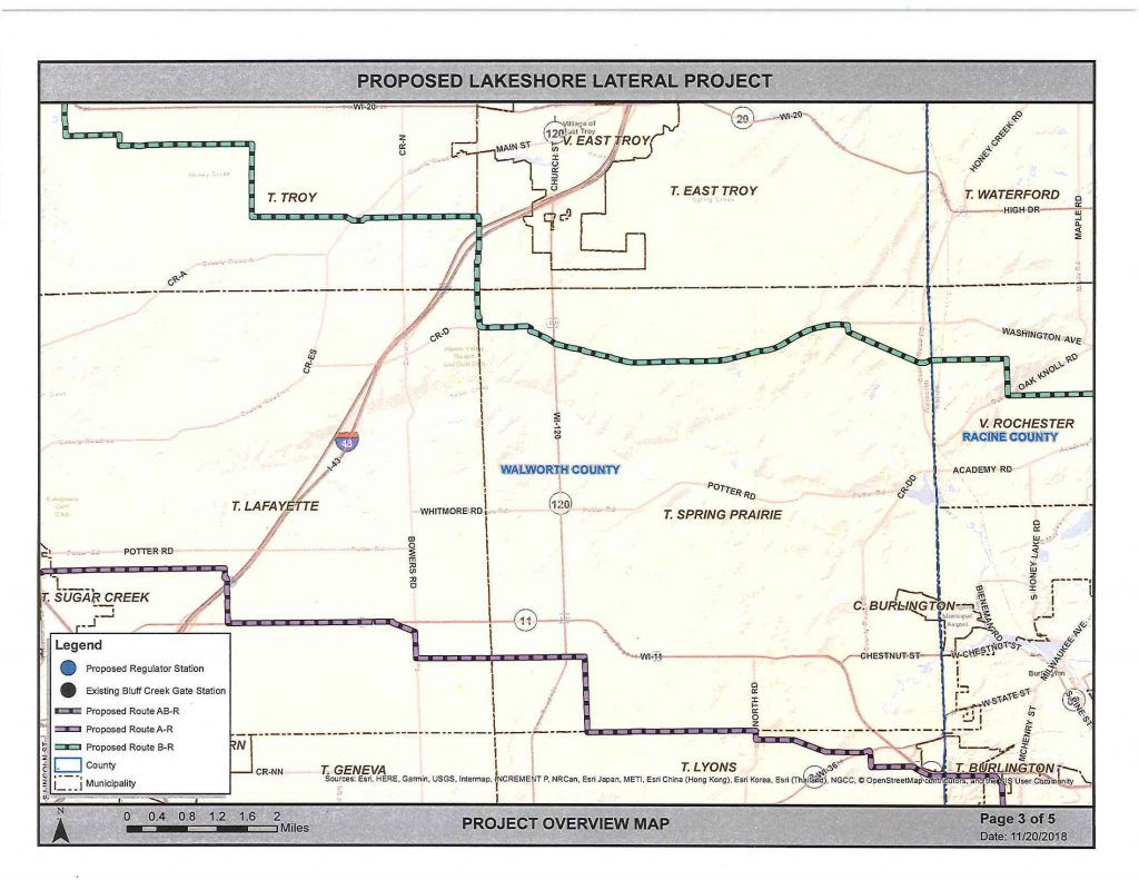 We Energies Map for revised natural gas pipeline Dec 5th