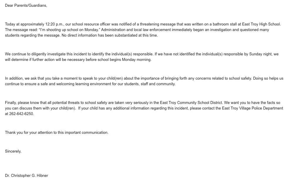 Letter from Dr. Hibner in regards to school threat